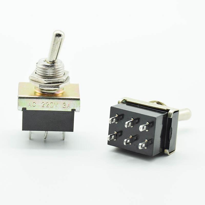 2 pcs seis 6 Terminais Interruptores ON ON Kit de Heavy Metal Classic Car AC 220 V 3A 12mm furos de montagem de duas posições