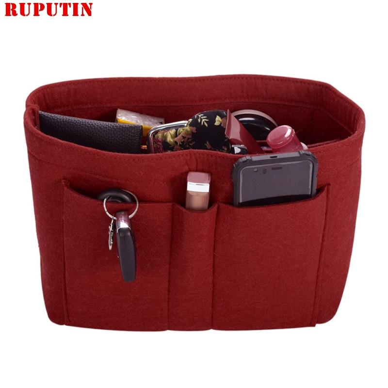 RUPUTIN Hot Women Makeup Bag Felt Cloth Insert Bag Organizer Make Up Handbag Lady Travel Organizer Multifunctional Cosmetic Bag