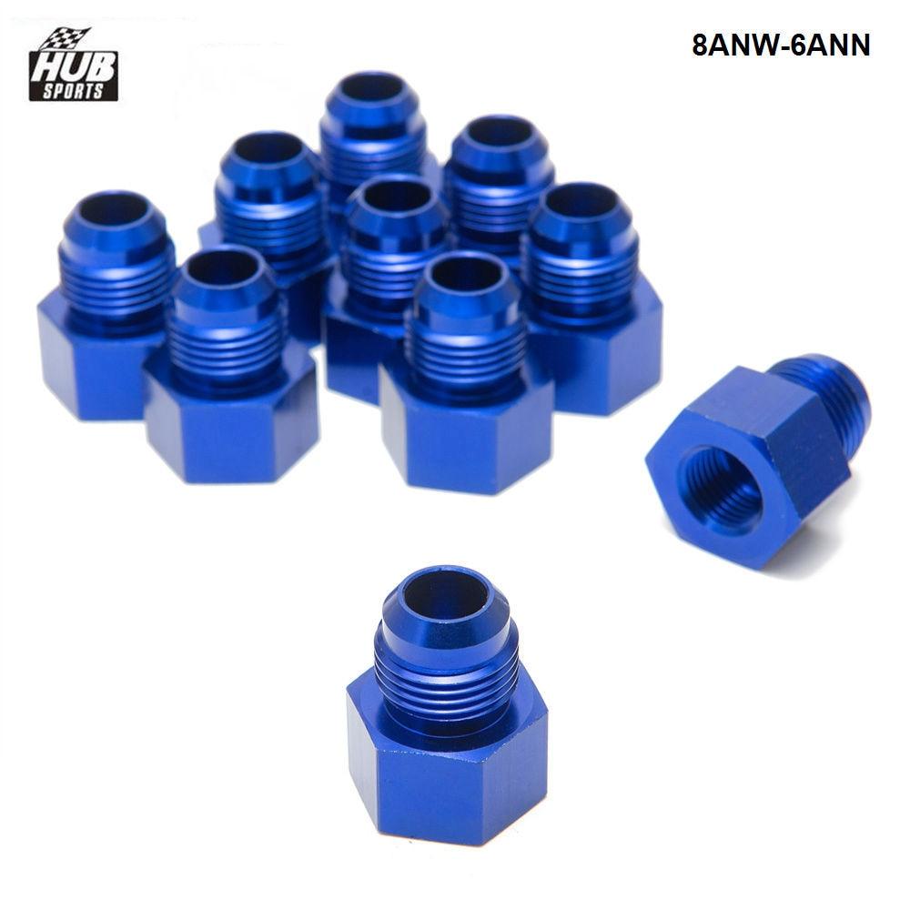 10 pces/lotfitting flare redutor fêmea-6 um para macho-8an azul flare redutor adaptador de encaixe HU-8ANW-6ANN