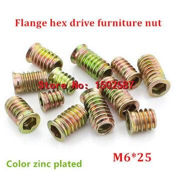 100 teile/los M6 * 25 Farbe Verzinktem Flansch Antriebskopf Möbel Mutter Internen Außengewinde Schraube Für Holz Insert Mutter