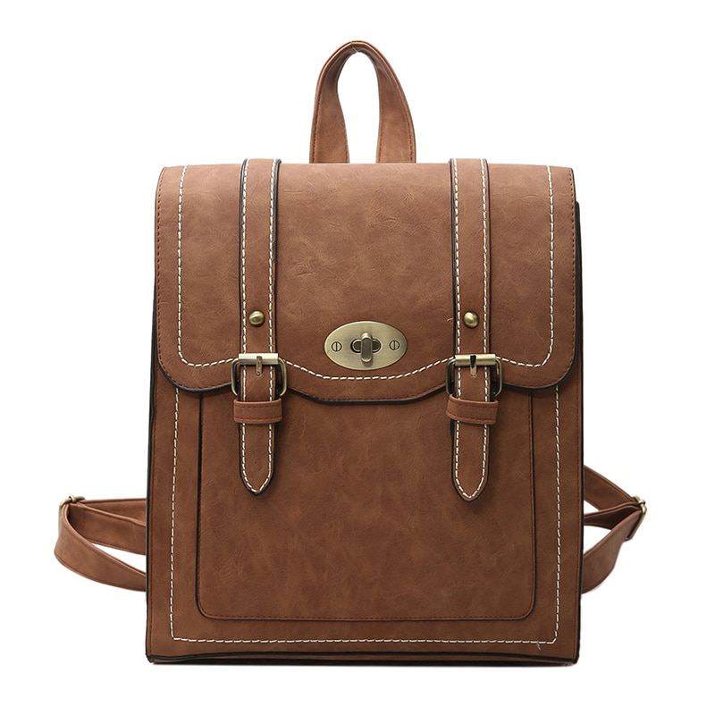 School Backpacks Style 2018 New Retro Fashion Women Backpack High-quality PU Leather Portable Shoulder bag Travel Books Rucksack
