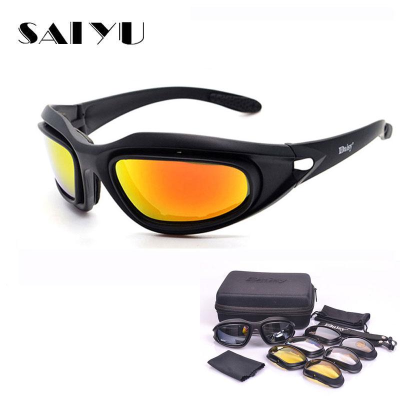 SAIYU C5 ejército gafas de Tormenta del Desierto 4 lente al aire libre de caza, de deporte gafas Anti UVA UVB X7 polarizado juego de guerra de la motocicleta Glasse