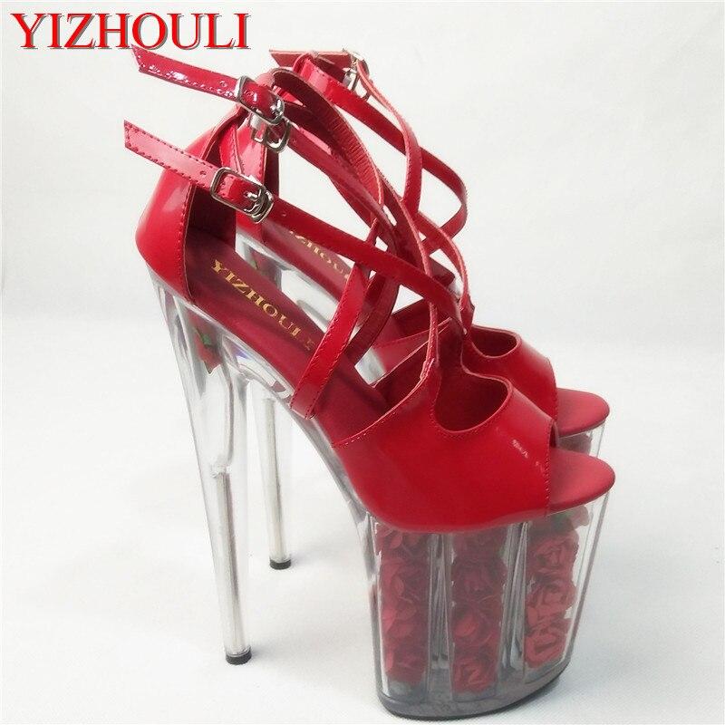 "20cm red flower wedding shoes women motorcycle high heel shoes 8"" fashionable dress high heels pole dancing sandals platform"