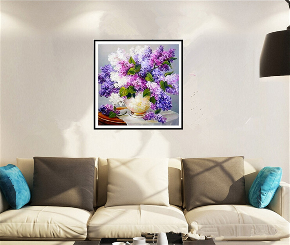 Cuadro de punto de cruz de diamante con flores púrpuras manualidades con bordado de diamantes lavanda bordado cuadro bordado con diamantes de imitación diy pintura