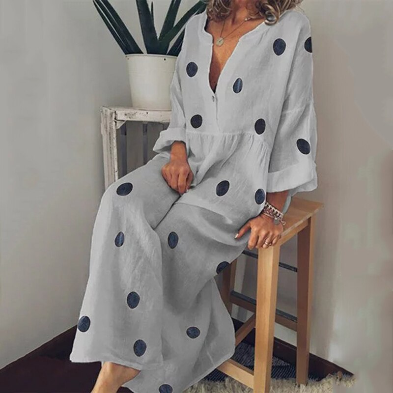 Mujeres Polka Dot Vestido de manga larga bohemio cuello pico verano playa Sundress XRQ88