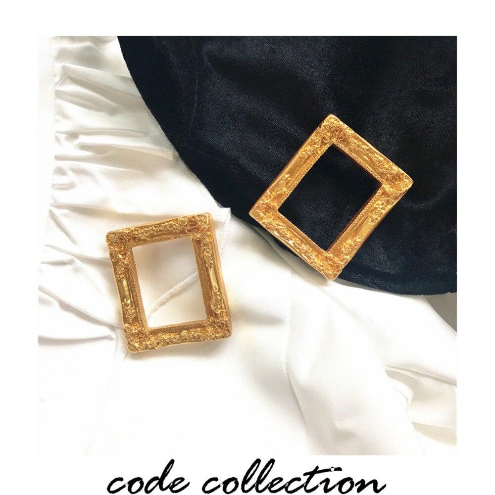Nuevo Marco de pintura de moda Vintage en relieve Pin de solapa hueco tamaño grande cuadro marco ropa boda alfileres broche insignia