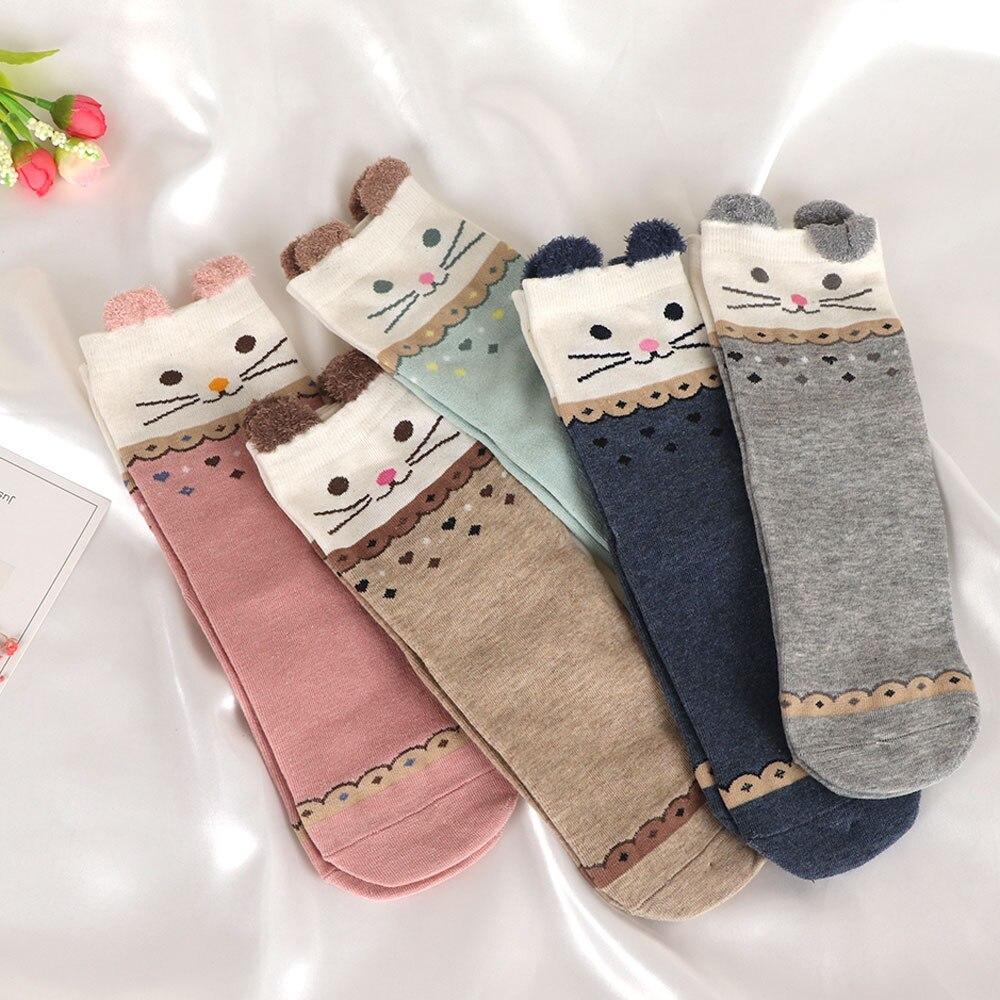 Cartoon Cat Women 3D Ears Animal Cotton Socks Lady Funny Striped Short Ankle Socks Random Color