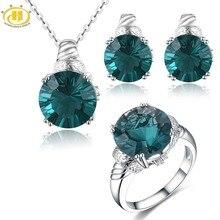 Hutang couleur Fluorite ensembles bijoux pierres précieuses naturelles 925 argent anneaux boucles doreilles pendentif Fine élégant bijoux pour les femmes cadeau nouveau