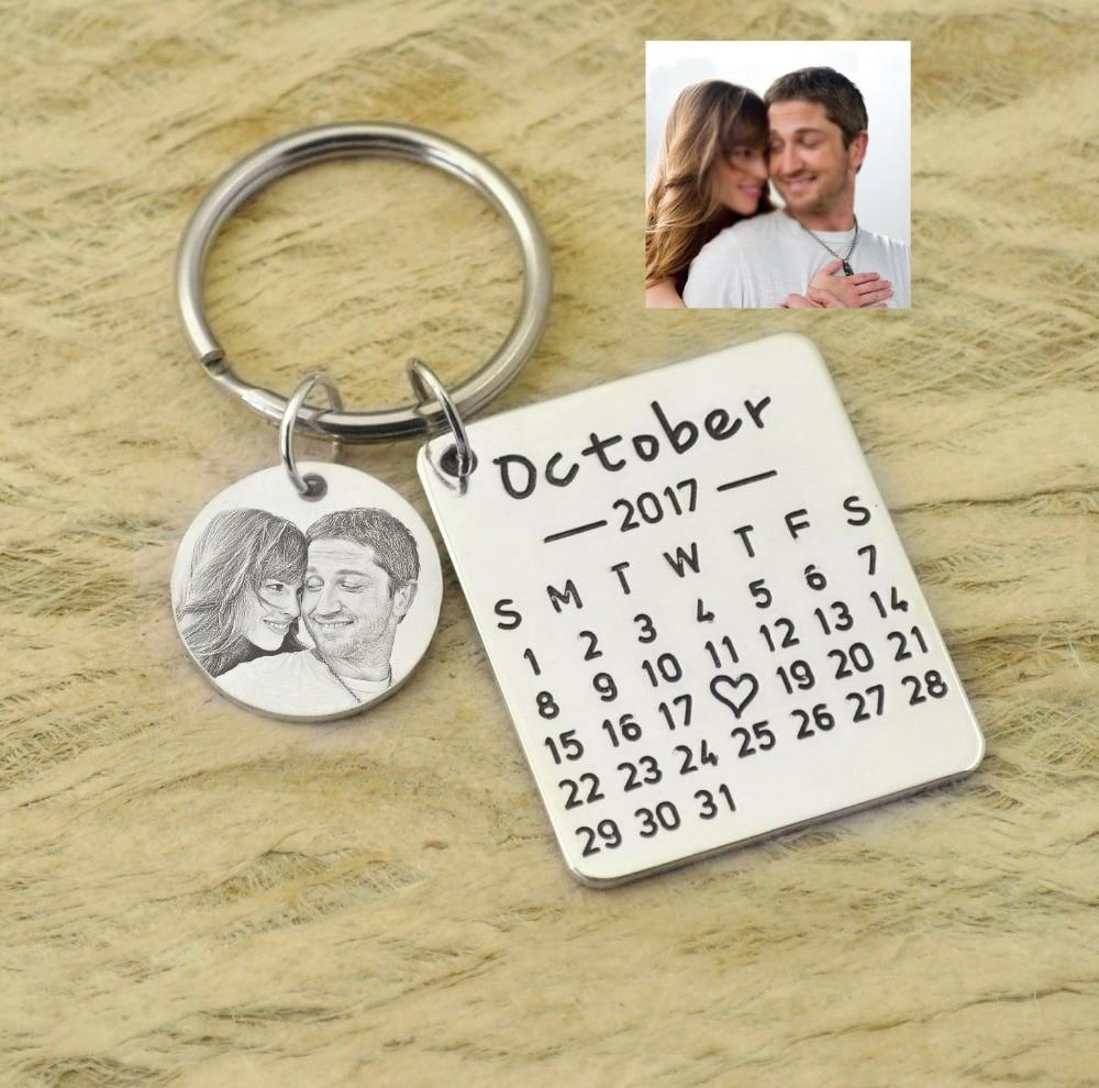 Llaveros de calendario personalizados, recuerdos de boda, llaveros, regalo para pareja, regalo del Día de San Valentín, GUARDAR LA FECHA