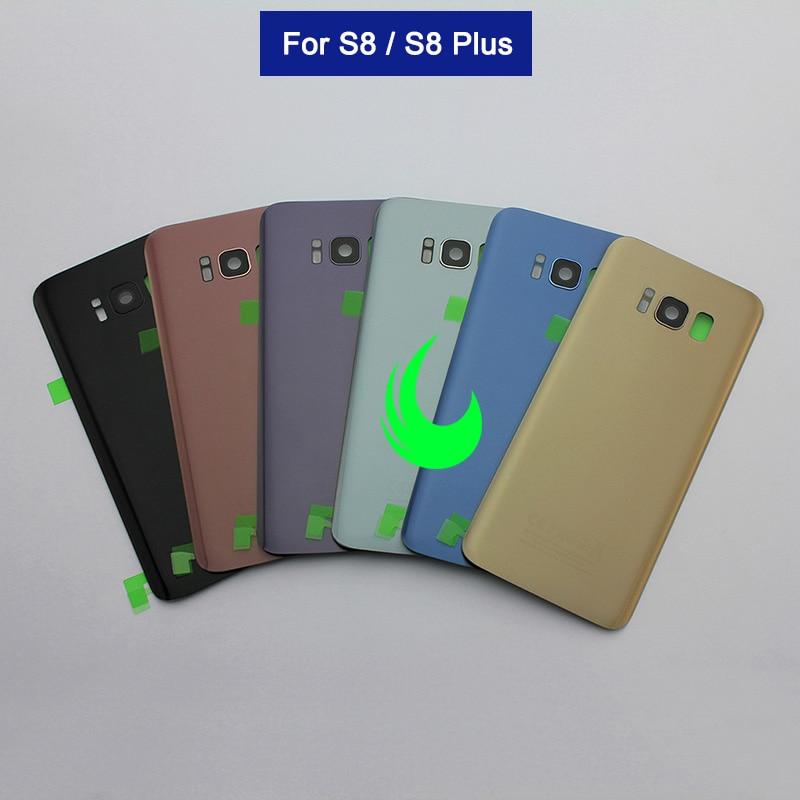 Para Samsung Galaxy S8 G950 S8 Plus G955 Caso Tampa Traseira Porta Da Bateria Vidro Traseiro Habitação Para SAMSUNG S8 + tampa traseira + Camera Lens