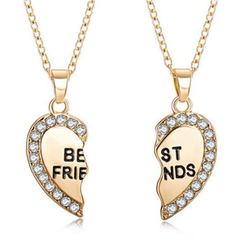 2pcs Best Friends Necklace Jewelry Pendant Couples Paired Necklaces Pendants Unisex Lovers Valentine's Gift W3
