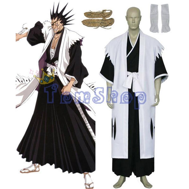 Bleach 11th Division Captain Zaraki Kenpachi Cosplay Kimono Uniform Suit Mens Costumes with Sandals Custom-made free shipping
