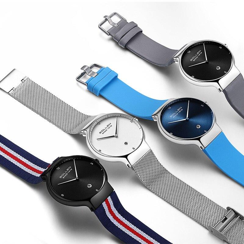 SOLLEN Brand Women Fashion Casual Quartz Calendar Wrist Watch Ladies Steel Watches Waterproof Luxury Lady Watch Relogio Feminino enlarge