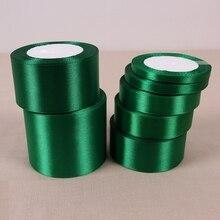Rubans de noël (25 yards/roll)   Ruban Satin vert simple Face, emballage cadeau en gros, rubans de noël, 19
