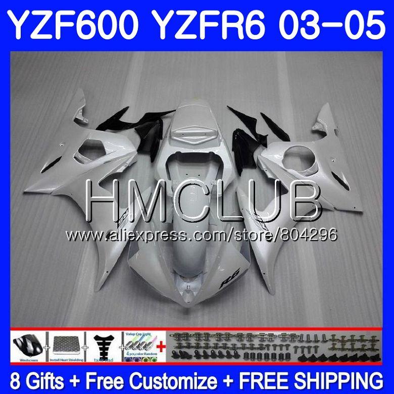 Carrocería blanco perla para YAMAHA YZF-R6 03 05 YZF600 YZFR6 03 04 05 101HM22 YZF-R600 YZF 600 R 6 YZF R6 2003, 2004 DE 2005 carenados