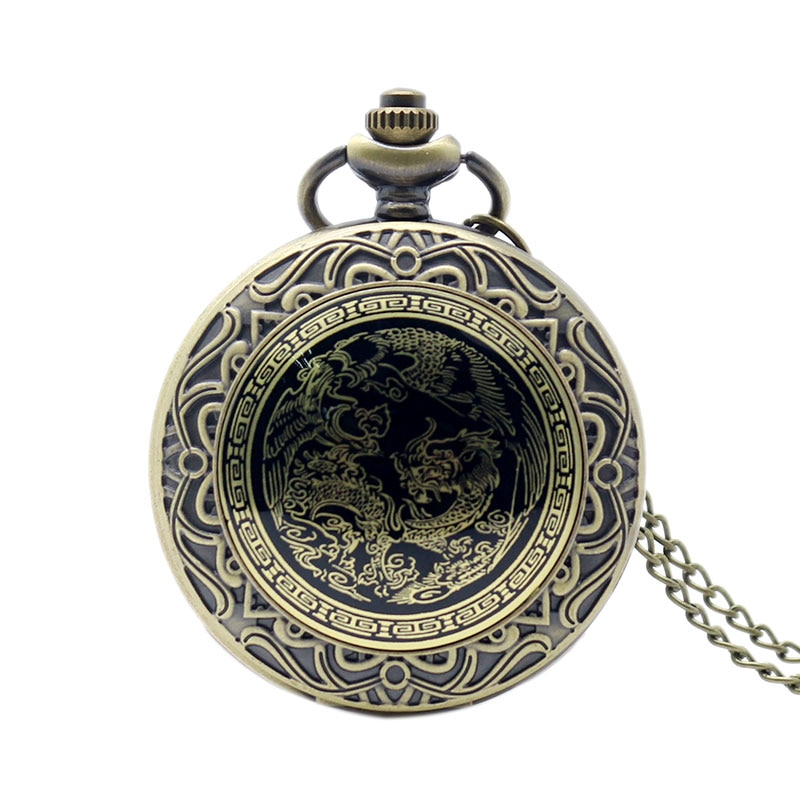 Luxury Watches Dragon And Phoenix Bronze Quartz Pocket Watch Pendant Charm Relogio De Bolso Fob Clock White Dial Man Woman Gift color diamond case cover pocket watch girls sailor moon dial for female fancy red moon pendant clock accessory relogio de bolso