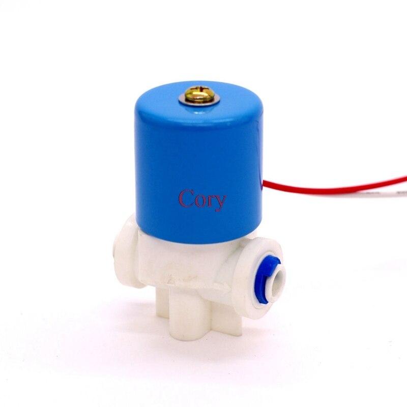"""1 pc dc 24v 12v válvula de água solenóide elétrica 1/4 """"conexão de mangueira de ação tubo pe direto para o controlador ro do sistema de osmose reversa"""