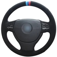 black suede light blue blue red marker car steering wheel cover for bmw f10 523li 525li 2009 730li 740li 750li