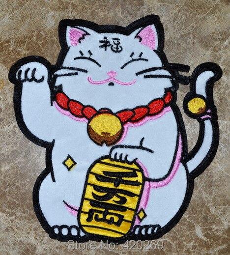 Parche de gato Maneki Neko para coser en hierro bordado Bienvenido suerte