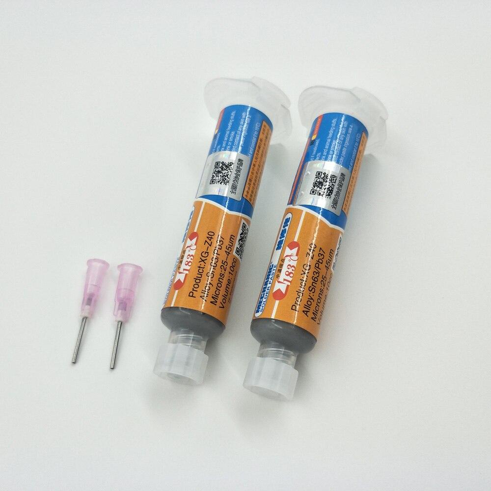 2 adet 10CC Mekanik Teneke XG-z40 Lehim Pastası Akı Sn63/Pb37 25-45um Şırınga PCB SMD Için Cep Telefonu Tamir XG z40