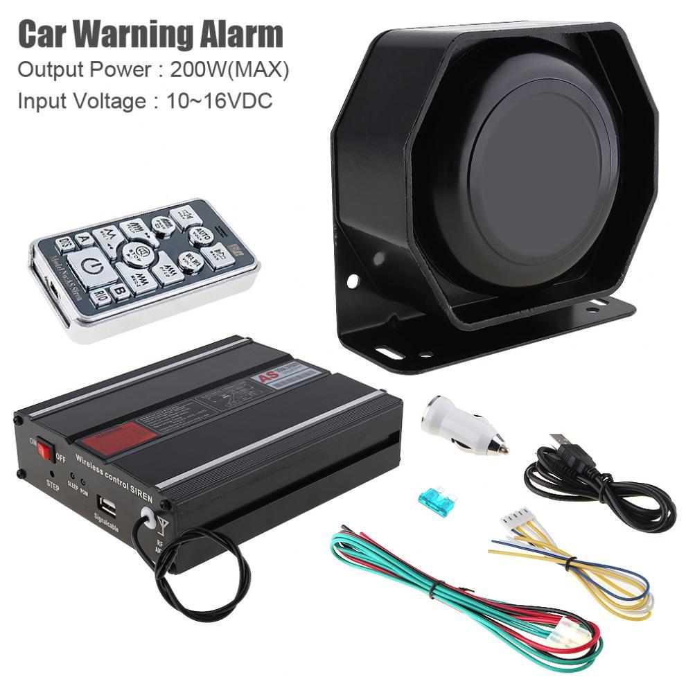 DC12V 200W 18 tono de advertencia de coche alarma policía sirena bocina PA altavoz con sistema de micrófono + Control remoto inalámbrico