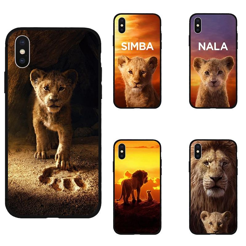 Leão rei nala simba timon silicone macio preto capa de telefone para iphone11 pro max 5 5S se 6 6s 7 8 plus x xs xr max