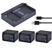 Batmax 3 pièces VW-VBT380 VBT380 VW-VBT190 batterie + USB double chargeur pour Panasonic HC-V800GK HC-V110, HC-V130, HC-V160, HC-V180, HC-V201,