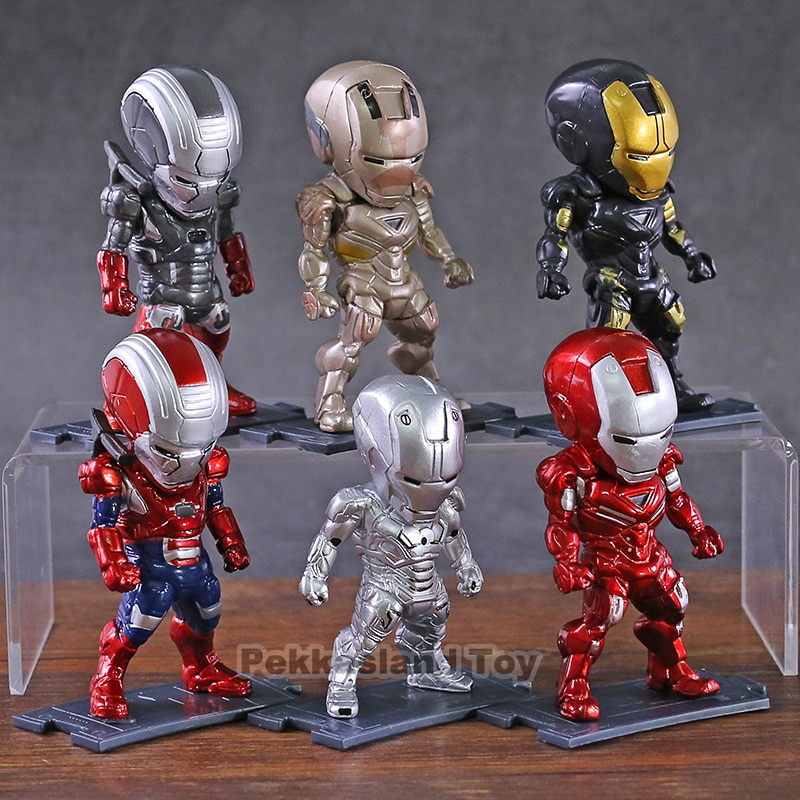 Marvel Iron Man Mark MK 2 20 21 22 33  Q Version PVC Action Figures Collectible Model Toys Decorations 6pcs/set