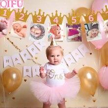 QIFU 1 생일 파티 장식 아이들은 첫 번째 생일 배너 깃발을 선호합니다 1 년 멧새 갈 랜드 베이비 샤워 장식 소년 소녀