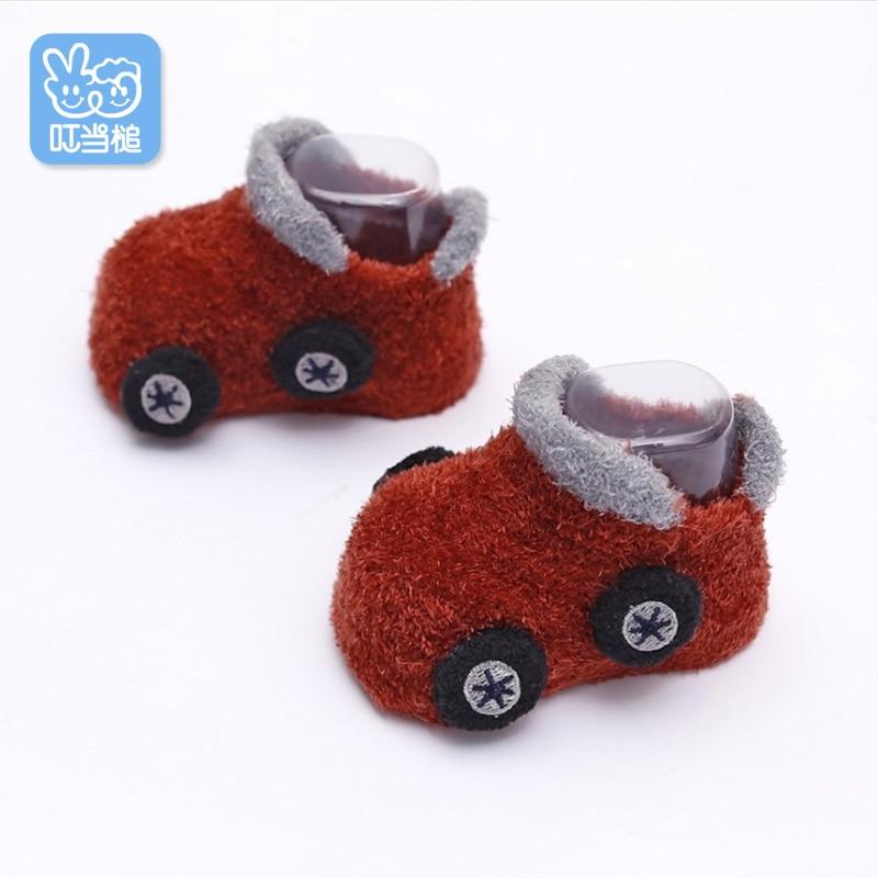 Dinstry zapato de bebé para niño, espesamiento de primavera, dibujos animados de coche de bebé, fondo suave, zapato de niño de 0-1-2-4 años de edad