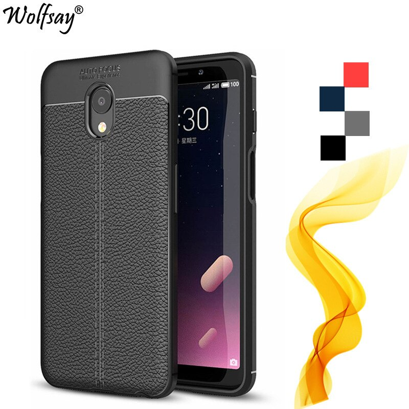 Funda mblu S6 para Meizu M6S, carcasa de cuero de Litchi de lujo con patrón, carcasa de silicona para teléfono móvil sFor Meizu M6S, funda para Meizu Meilan 6S