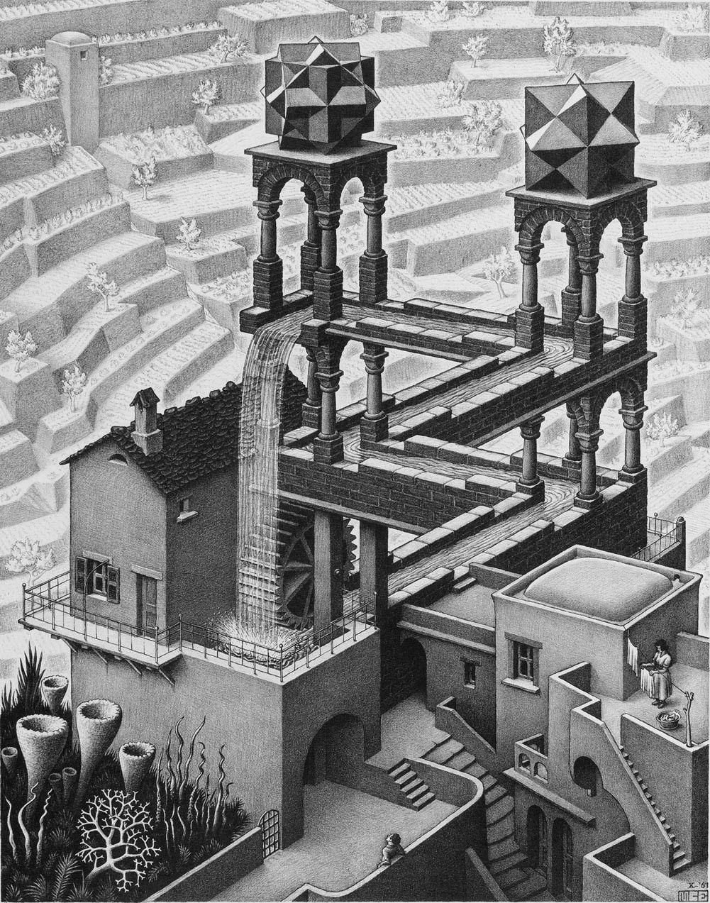 "M C Escher relatividad óptica ilusión dibujo póster de tela 32 ""x 24"" Decor 01"