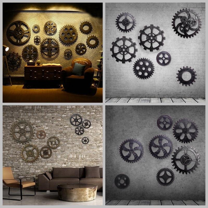 European Retro Imitation Metal Home Decor Gear Ornament For KTV Bar Loft Room Creative Wall Decorations Home Wall Hangings