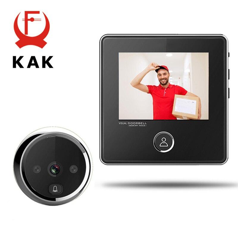 Электронный дверной глазок KAK, ЖК-экран 2,8 дюйма, инфракрасная Ночная дверная глазок, камера для фотосъемки, цифровая дверная камера, умный г...