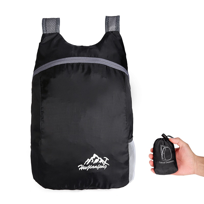 S.IKRR Portable Nylon Travel Backpack Solid Simple Zipper Foldable Back Pack Waterproof Outdoor Folding Bag  For Women Men 2019