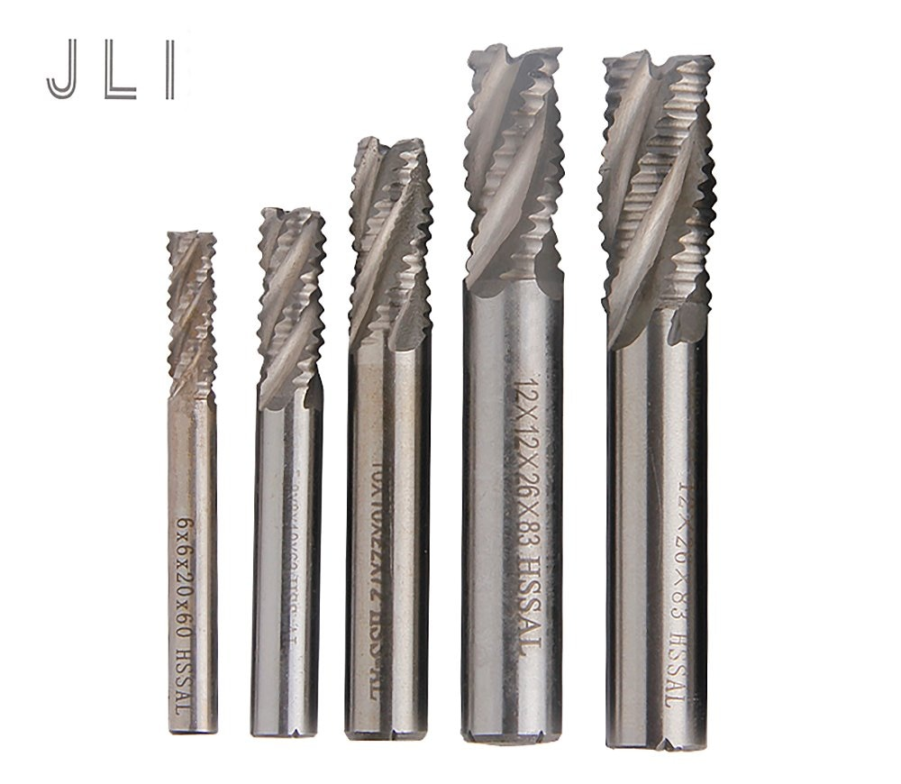 5 pçs/set JLI 4 Flautas 6/8/10/12/14mm Desbaste Fresa HSS Hetero haste Router Bit Ferramentas Moinho de Carboneto de Fresa De topo CNC