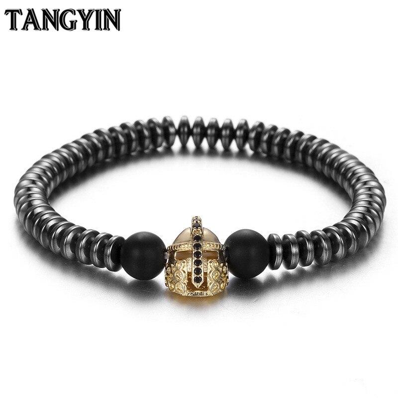 Fashion Black Gallstone Septum Natural Stone Beads Men Bracelet Micro-inlaid Zircon Spartan Helmet Bracelet Elastic Bracelets