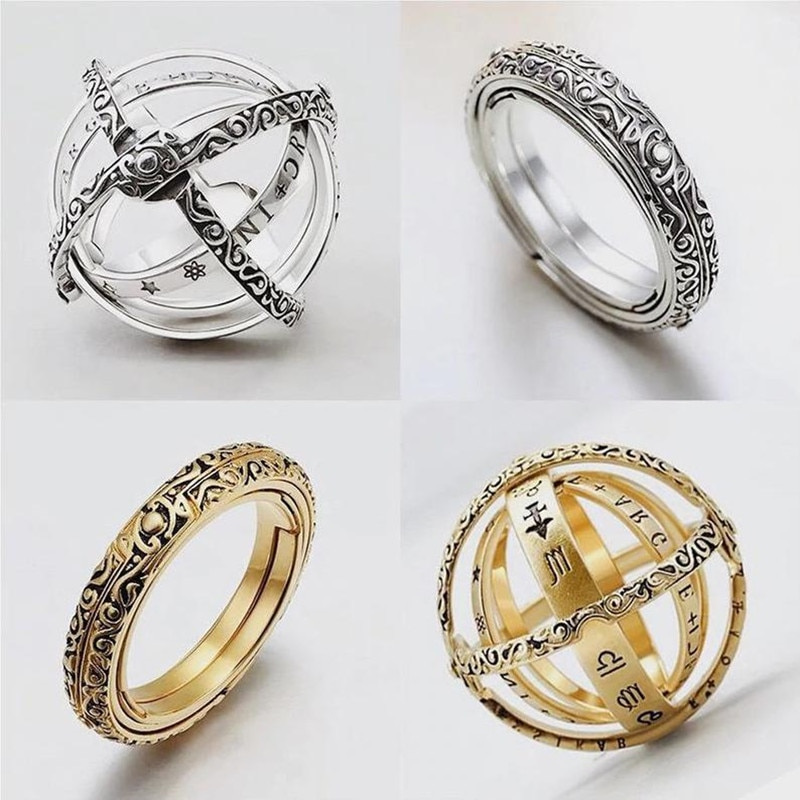 Anillo de bola de esfera astronómica anillo de dedo cósmico complejo giratorio Clamshell anillo astronómico universo anillo para amante joyería