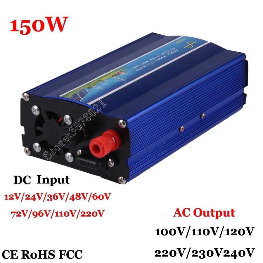 Inversor de onda sinusoidal pura 150W potencia del inversor fuente de potencia Solar transformador 60/72/96 V/110VDC a 100 V/110 V/120 V/220 V/230 V/240 V AC