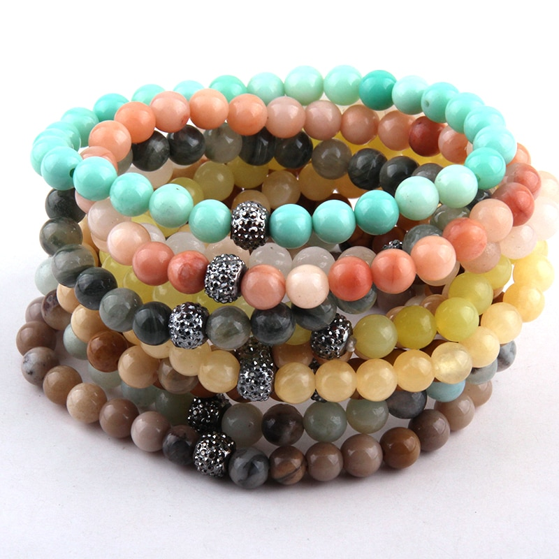 Pulseras de energía de moda envío gratis hechas hermosa pulsera de piedra de Color mezclado 6mm 10 pc de diferentes colores/lote