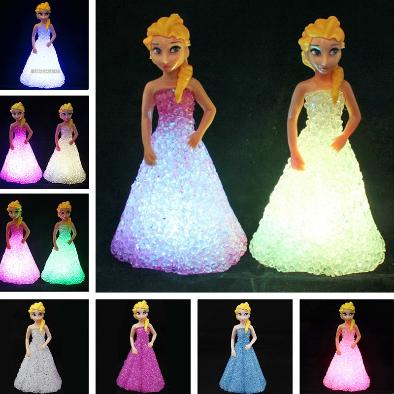 Игрушки для девочек в виде Анны и Эльзы, 7 светодиодов, ночник для девочек в подарок
