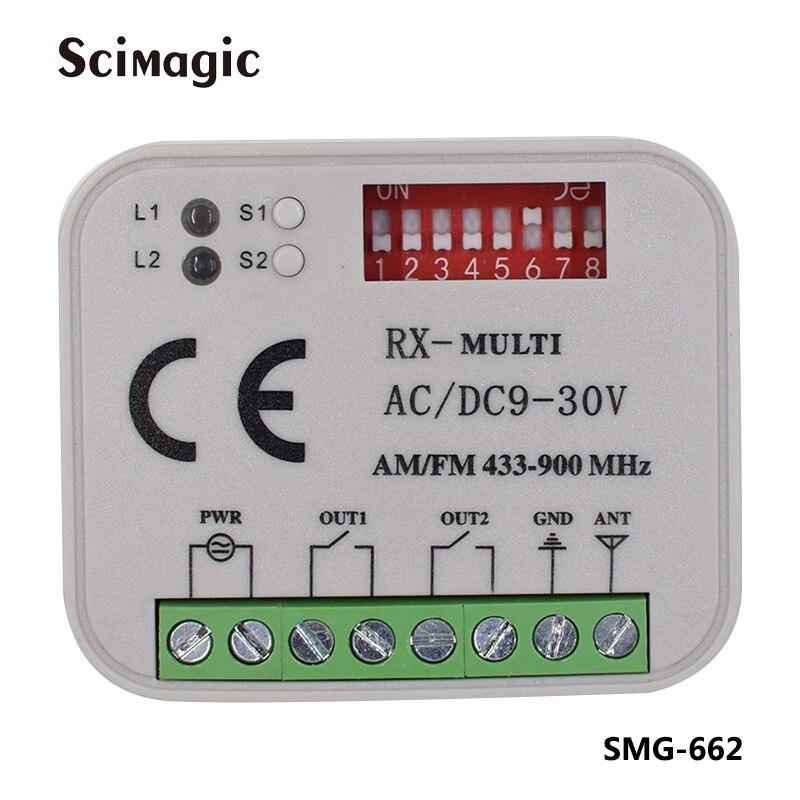 Rx-multi ac/DC9-30V am/fm 433-900mhz receptor remoto porta de garagem controle remoto transmissor receptor 433 315 390 868 mhz