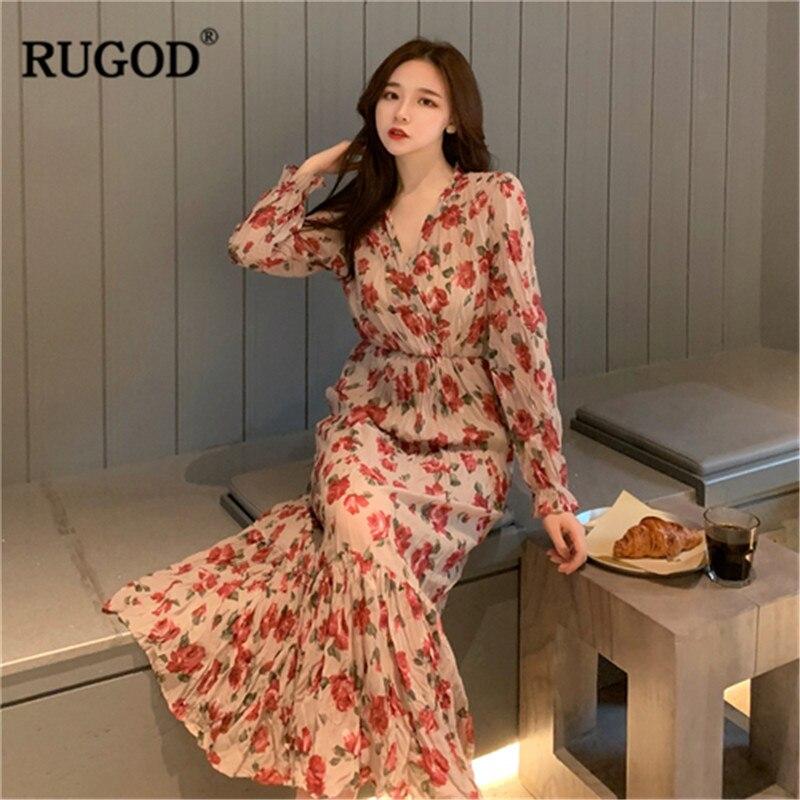 Vestido de mujer con estampado Floral RUGOD, vestido bohemio de manga larga hasta el tobillo con cuello en v, kimono sukienki modis elegante vintage coreano