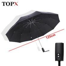 125cm Große Automatische Top Qualität Regenschirm Regen Frauen 3 Falten 10K Winddicht Große Outdoor Auto Regenschirm Männer Frau paraguas Sonnenschirm