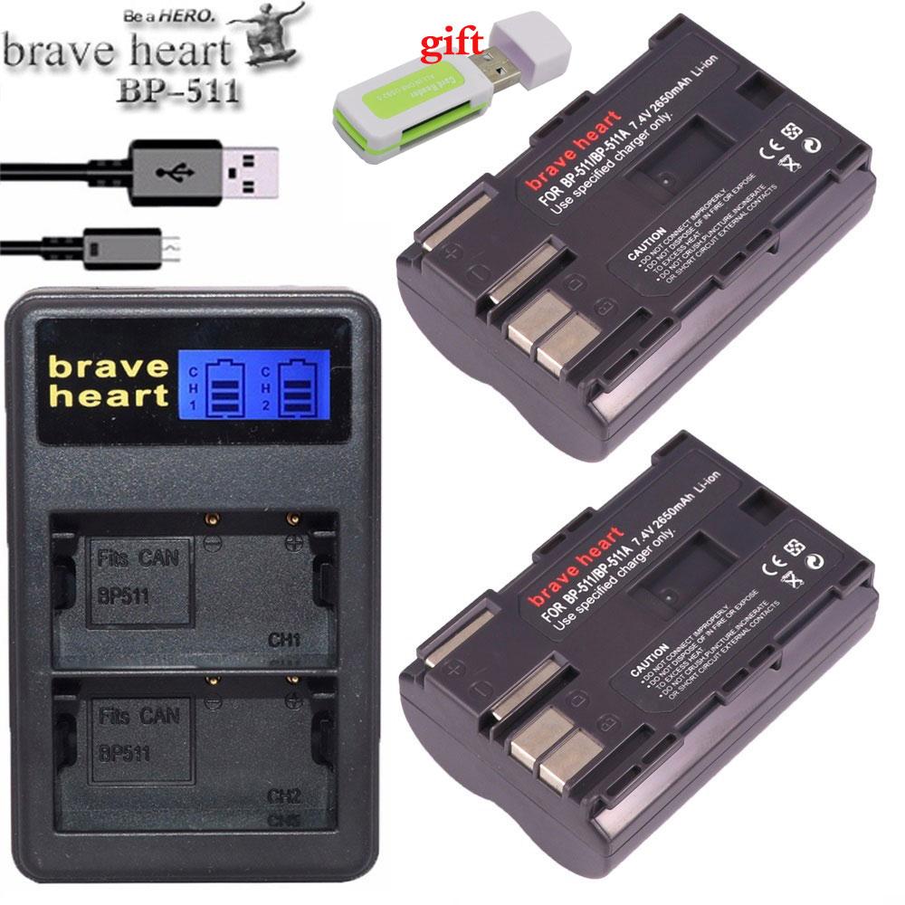 2x 7.4v 2650mah BP-511A BP-511 BP 511 511A BP511 BP511A Battery + LCD USB Charger for Canon EOS 40D 300D 5D 20D 30D 50D camera