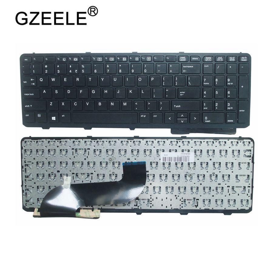 Клавиатура GZEELE для ноутбука HP ProBook 650 G1 655 G1 US с рамкой, черная, 738697-001