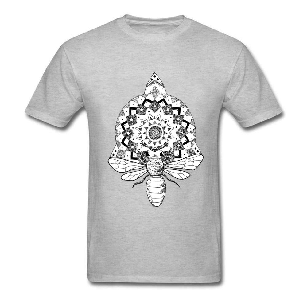 Camiseta de Mandala de abeja para hombre, camiseta de verano de algodón, Camiseta con cuello redondo, ropa personalizada, Top, nueva camiseta de manga corta, gris, negro, blanco