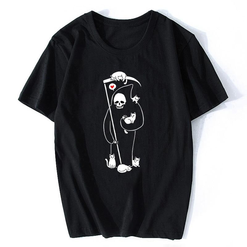 Death Is A Cat Person Grim Reaper Funny Vintage Men Horror T-Shirt Harajuku Streetwear Funny Vogue Aesthetic Cotton Tshirt