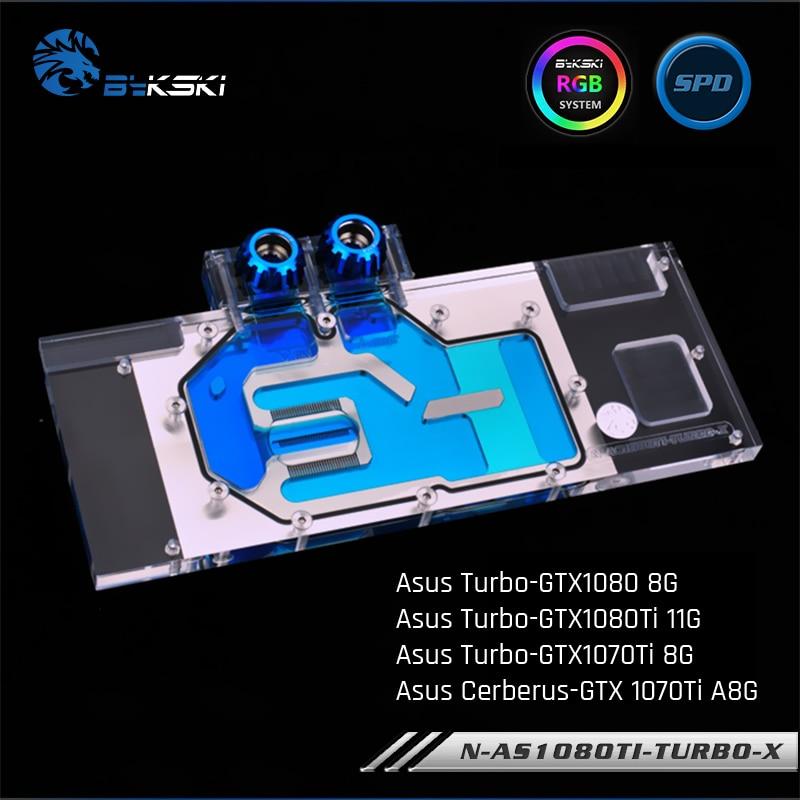 Bykski N-AS1080TI TURBO-X ، غطاء كامل بطاقة الرسومات كتلة تبريد المياه RGB/RBW ، ل Asus Turbo-GTX1080Ti/1080/1070Ti