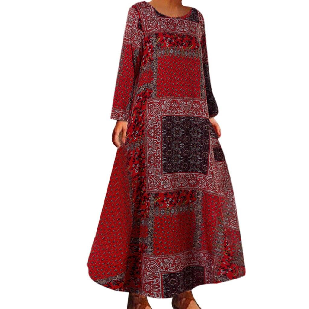 JAYCOSIN חורף שמלת נשים 2019 אופנה מקרית Boho הדפסת ארוך שרוול קפטן Loose ארוך מקסי שמלות vestidos דה verano 9713